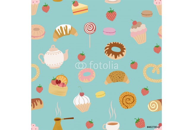seamless pattern with different types of pastries on blue 64239