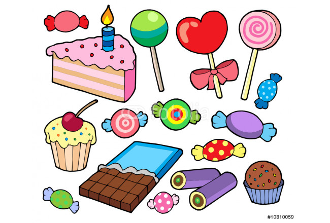 Bild auf Leinwand Candy and cakes collection 64239