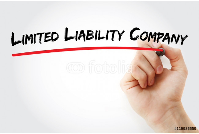Hand writing Limited Liability Company with marker, concept background 64239