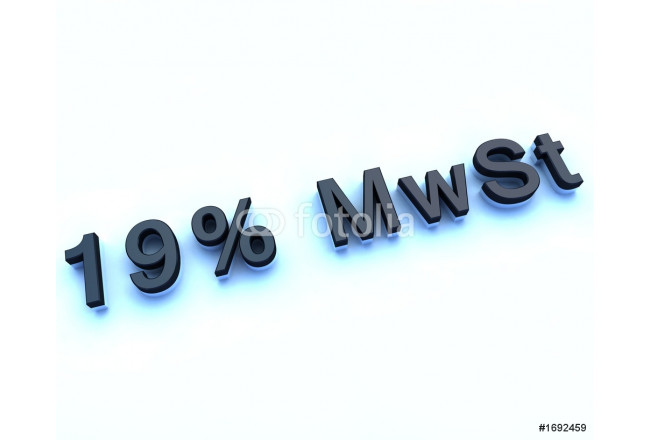 19 % mwst 3d sign 64239