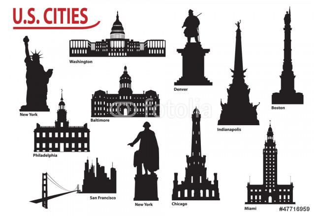 Silhouettes of U.S. cities 64239