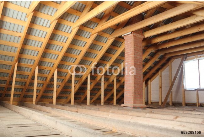 Roof frame covered by profiled metal sheet and brick chimney 64239