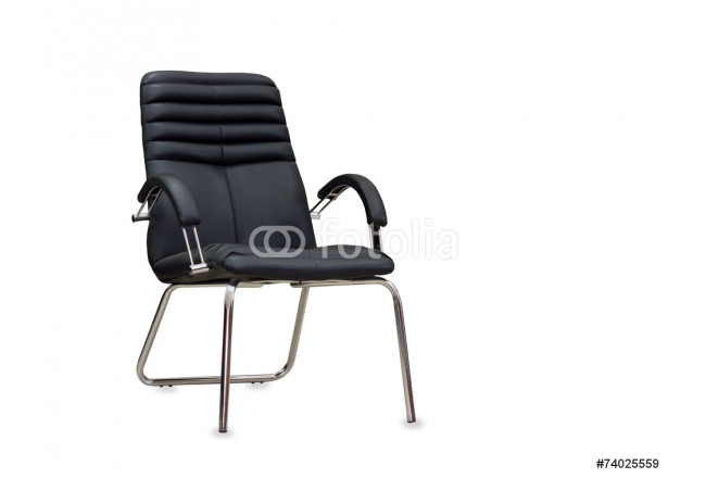 The office chair from black leather. Isolated 64239