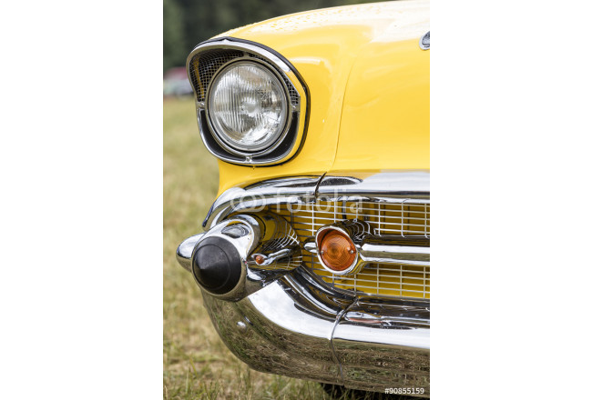 American vintage car, close-up of Chevrolet Bel Air front detail 64239