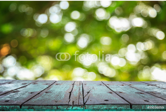 Empty top wooden table and sunny abstract blurred bokeh 64239