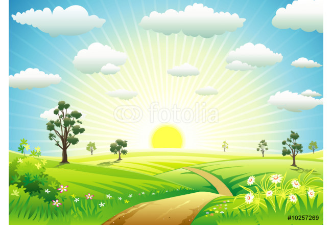 Sunny Meadow landscape of vector illustration layered. 64239