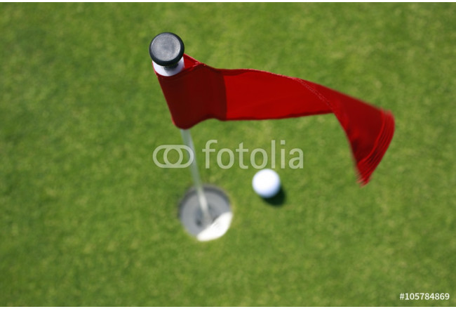 Golfball on green with red flag. 64239