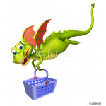 cute Dragon cartoon character with basket 64239