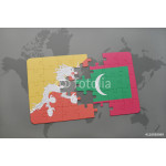 puzzle with the national flag of bhutan and maldives on a world map background. 64239