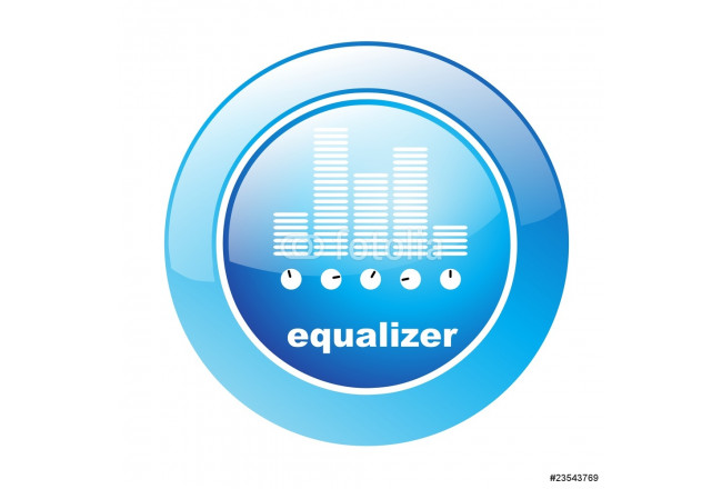 Cuadro decorativo Button Equalizer blau 64239