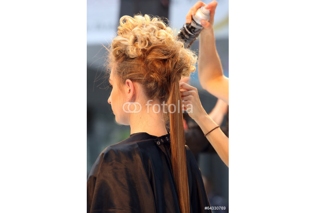 Bild auf Leinwand Hairdresser combing hair of young girl using hair spray 64239