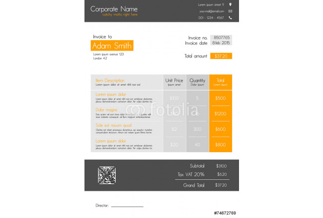 Invoice template - clean modern style of orange and grey 64239