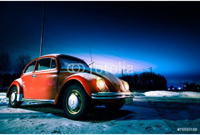 Red car in a winter night 64239