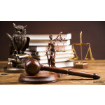 Golden scales of justice, books, Statue of Lady Justice. Owl and paragraph 64239