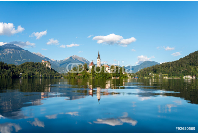 Island on lake Bled, autumn time.