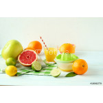 Citrus fruits with juicer on a blue wooden table 64239
