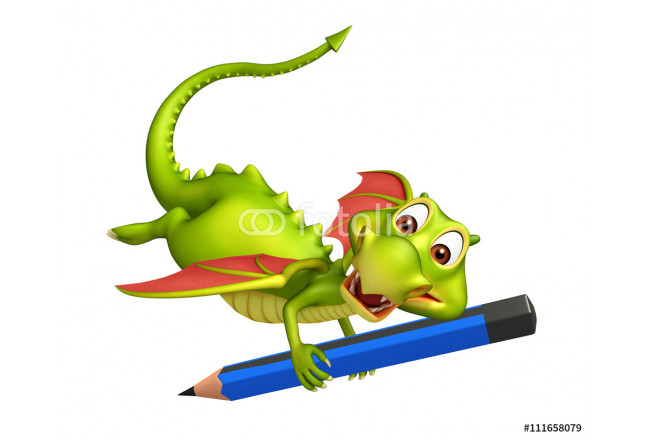 cute Dragon cartoon character with pencil 64239