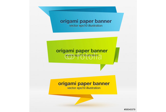 Vector set of origami paper banners. 64239