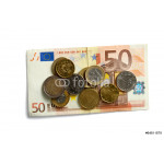 Money: euro coins and bills close up 64239