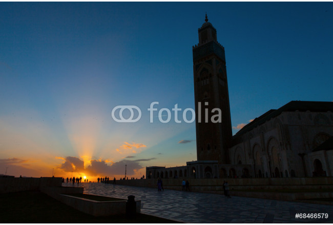 Silhouette of Hassan II Mosque in Casablanca at sunset, Morocco 64239