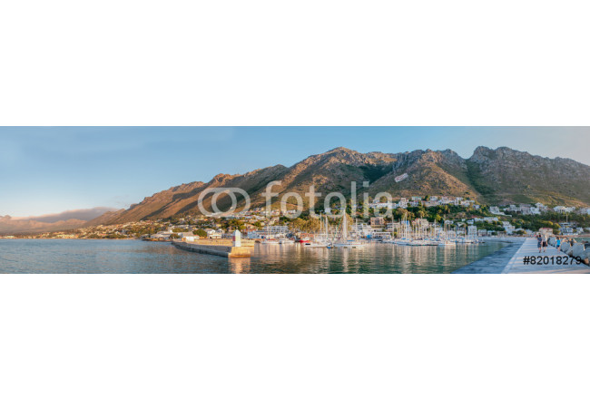 Panorama of Gordons Bay harbor and Hottentots-Holland Mountains 64239
