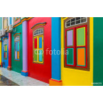 Colorful facade of building in Little India, Singapore 64239