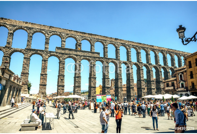 Segovia, Spain - June 29, 2014: People around the famous ancient 64239