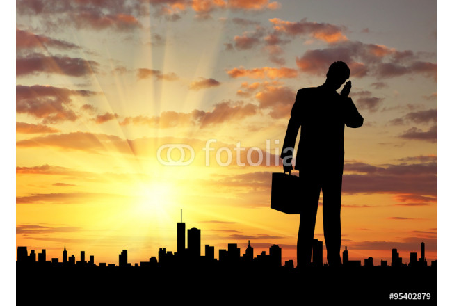 Cuadro decorativo  Silhouette of  businessman talking on the phone 64239