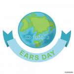 Greeting card with Earth day. Earth Day April 22 and blue Ribbon.  Globe on white background. Vector illustration 64239