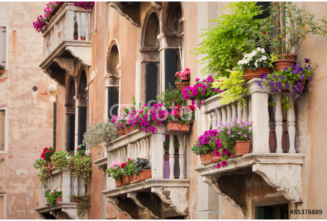 Beautiful old building balconies with colorful flowers 64239