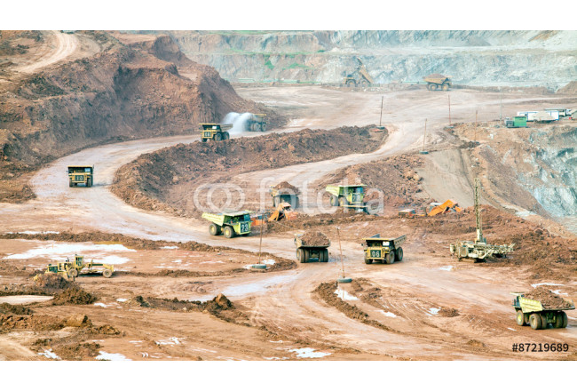 Part of a pit with big mining truck working 64239