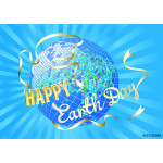 Inspiration Happy Earth Day. Globe and silhouette dove white banner on blue rays. Vector illustration EPS 10. 64239