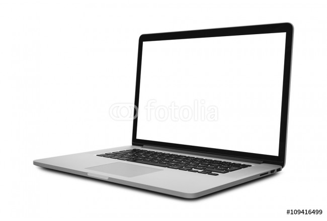 Laptop with blank screen isolated on white background - mockup template, all laptop in focus 64239