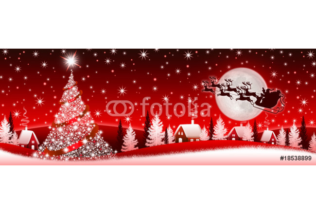 Red Christmas banner with Santa Claus 64239