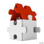 Puzzle home with red roof 64239