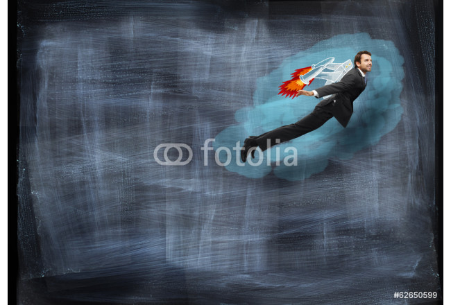 Businessman flying with rocket backpack 64239