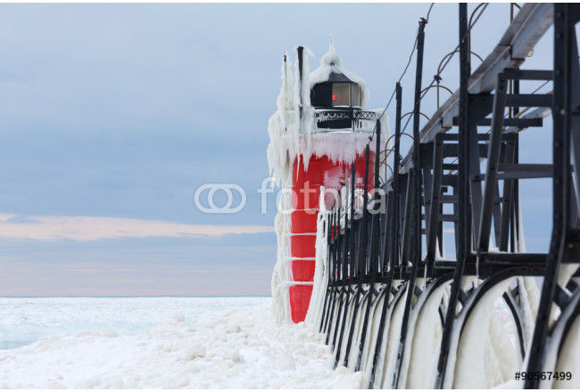 South Haven Pier Lighthouse Frozen in Ice - South Haven Michigan 64239