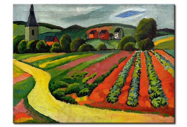 Riproduzione quadro Paesaggio con Chiesa e il percorso - August ...