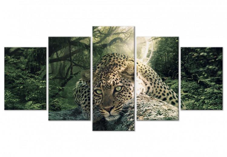 Leopard Lying (5 Parts) Wide Pale Green