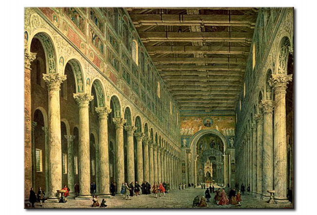 Schilderij Interior Of The Church Of San Paolo Fuori Le Mura Rome Giovanni Paolo Panini Beroemde Kunstschilders